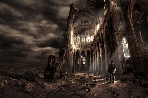 Destroyed buildings end world illustrations
