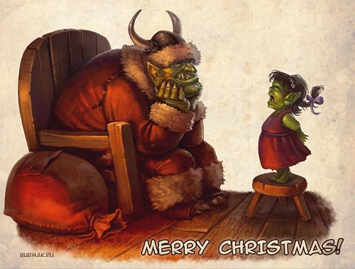 Goblin orc santa claus christmas artworks illustrations