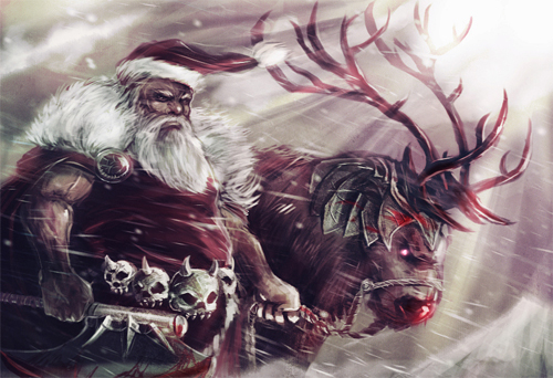 Barbarian warrior santa claus christmas artworks illustrations