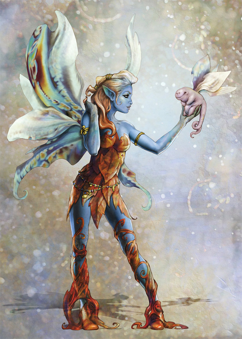 Blue avatar fairy illustrations artworks