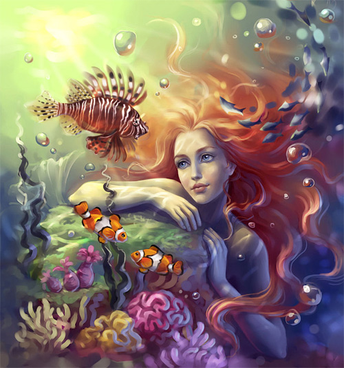 Red hair mermaid illustrations artworks