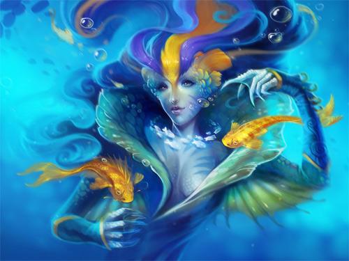 Queen mermaid illustrations artworks