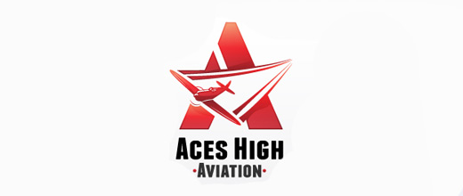 Aviation ace airplane logos design