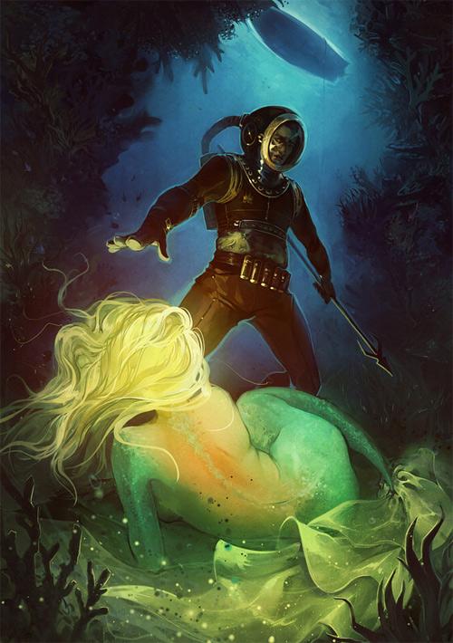 Bright mermaid illustrations artworks