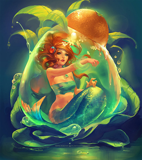 Green Bright mermaid illustrations artworks