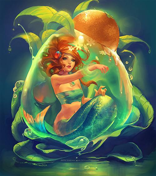 Green Bright mermaid illustrations artworks