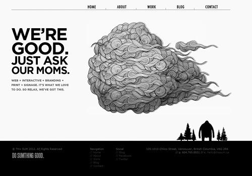 Black and white cloud doodle web design