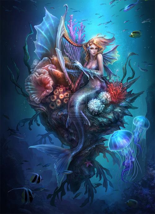 Harp mermaid illustrations artworks