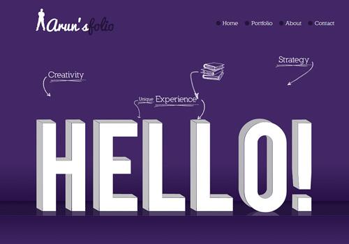 Purple portfolio doodle web design