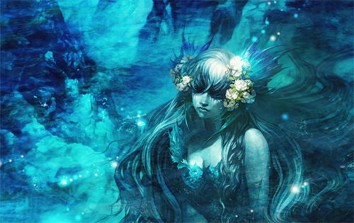 Sad blue mermaid illustrations artworks