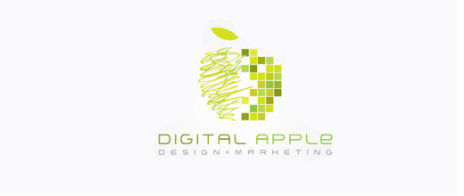 Green digital apple logo