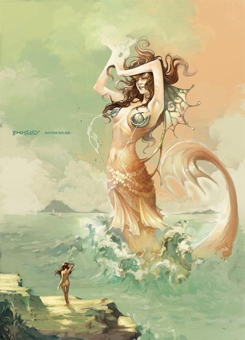 Giant mermaid illustrations artworks