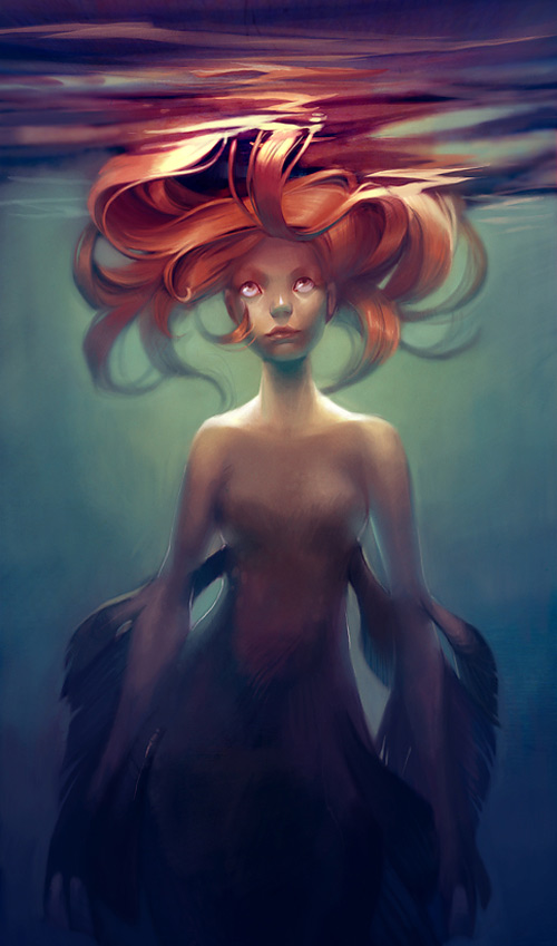 Young mermaid illustrations artworks