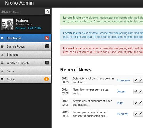 Kroko Admin - Responsive Template