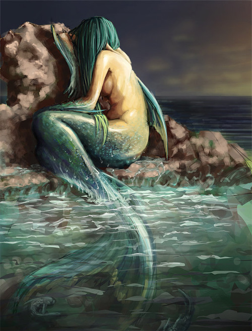 Crying mermaid illustrations artworks
