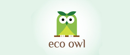 Green eco owl logos