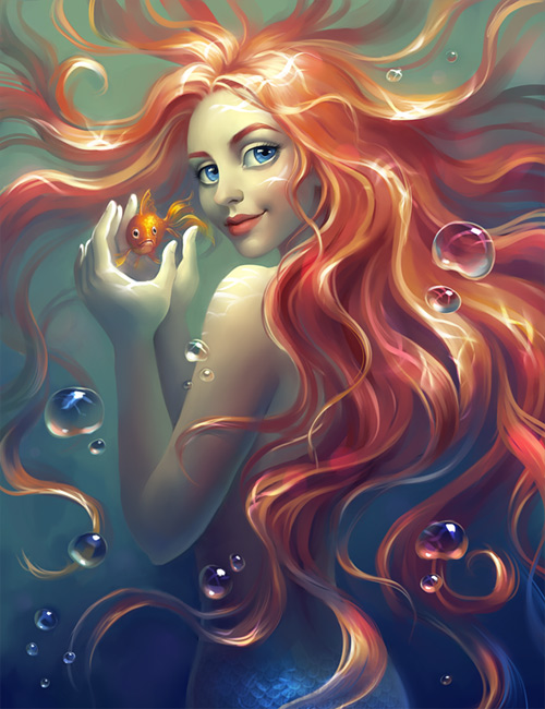 Red hair mermaid illustrations artworks