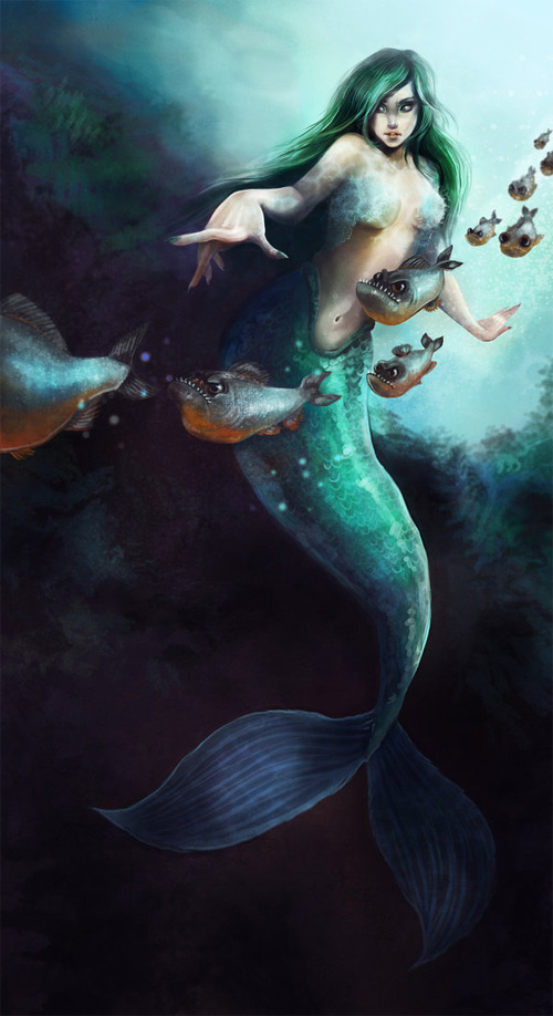 Green mermaid illustrations artworks