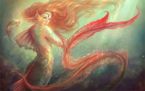 Orange mermaid illustrations artworks