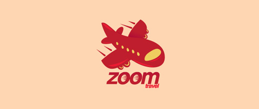 Red cute airplane logos design