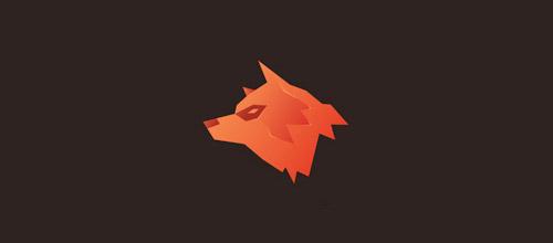 orange wolf logo design