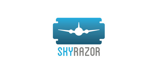 Razor blade airplane logos design