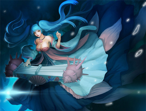 Blue mermaid illustrations artworks