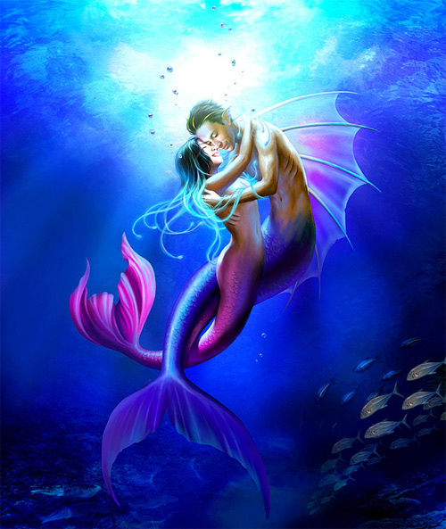 Couple mermaid illustrations artworks