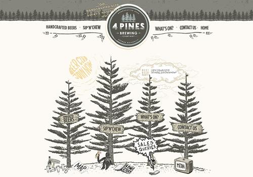 Pine sketch doodle web design
