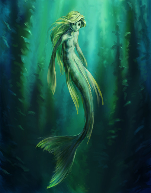 Green mermaid illustrations artworks