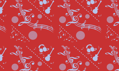 Red free musical repeat seamless pattern