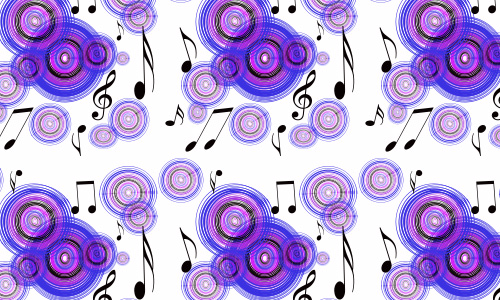 Violet purple circle notes free musical repeat seamless pattern