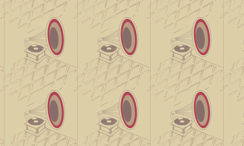 Gramophone free musical repeat seamless pattern