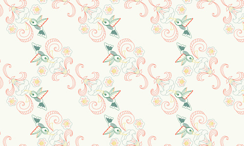 Hummingbird free animal repeat seamless pattern