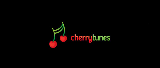 Music note tune cherry logo designs