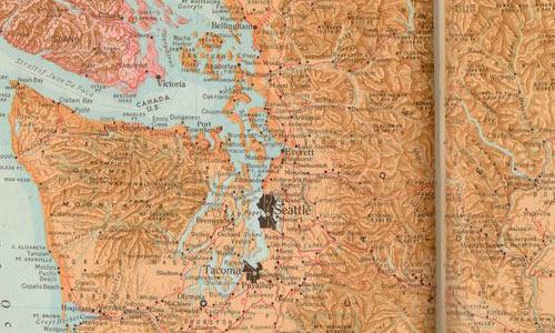 Vintage Washington Map Texture