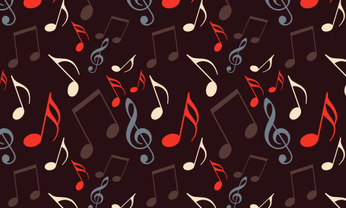 Brown free musical notes repeat seamless pattern