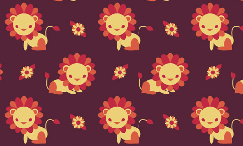 Lion free animal repeat seamless pattern