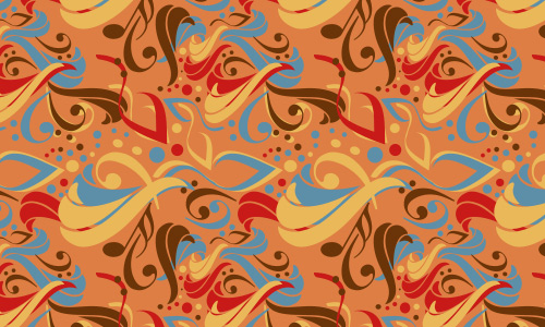 Abstract orange free musical repeat seamless pattern