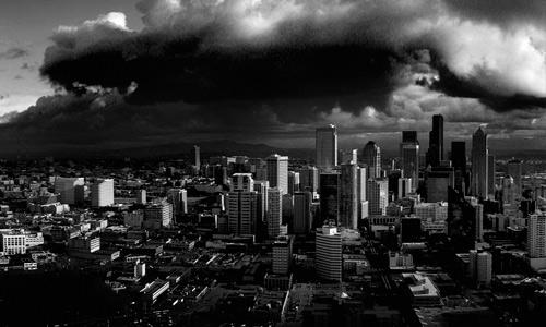Monochromatic black white free high resolution skyscraper wallpaper