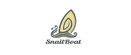 Snail boat logos design