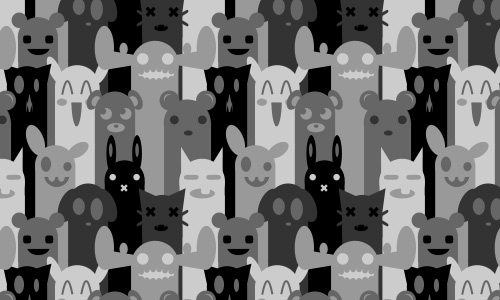 Black and white gray free animal repeat seamless pattern