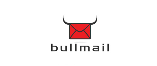 Red mail bull logo designs