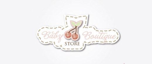 Stitch cute cherry logo designs