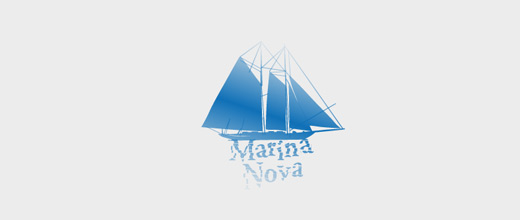 Blue big boat logos design