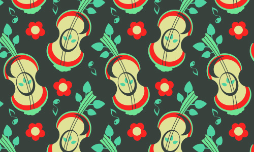 Guitar violin green free musical repeat seamless pattern