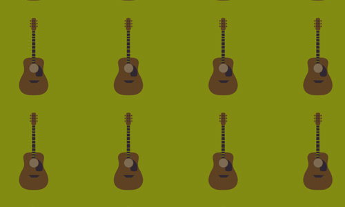 Acoustic guitar green background free musical repeat seamless pattern