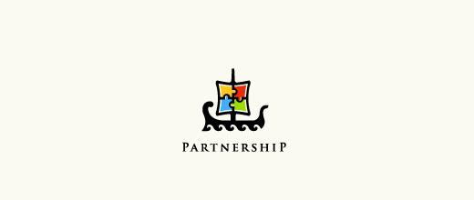 Puzzle boat logos design
