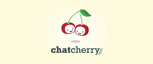 Chat face cherry logo designs