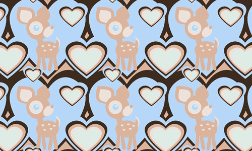 Deer heart free animal repeat seamless pattern